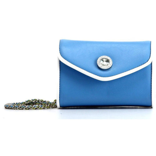 SCORE! Eva Designer Crossbody Clutch - Light Blue and White