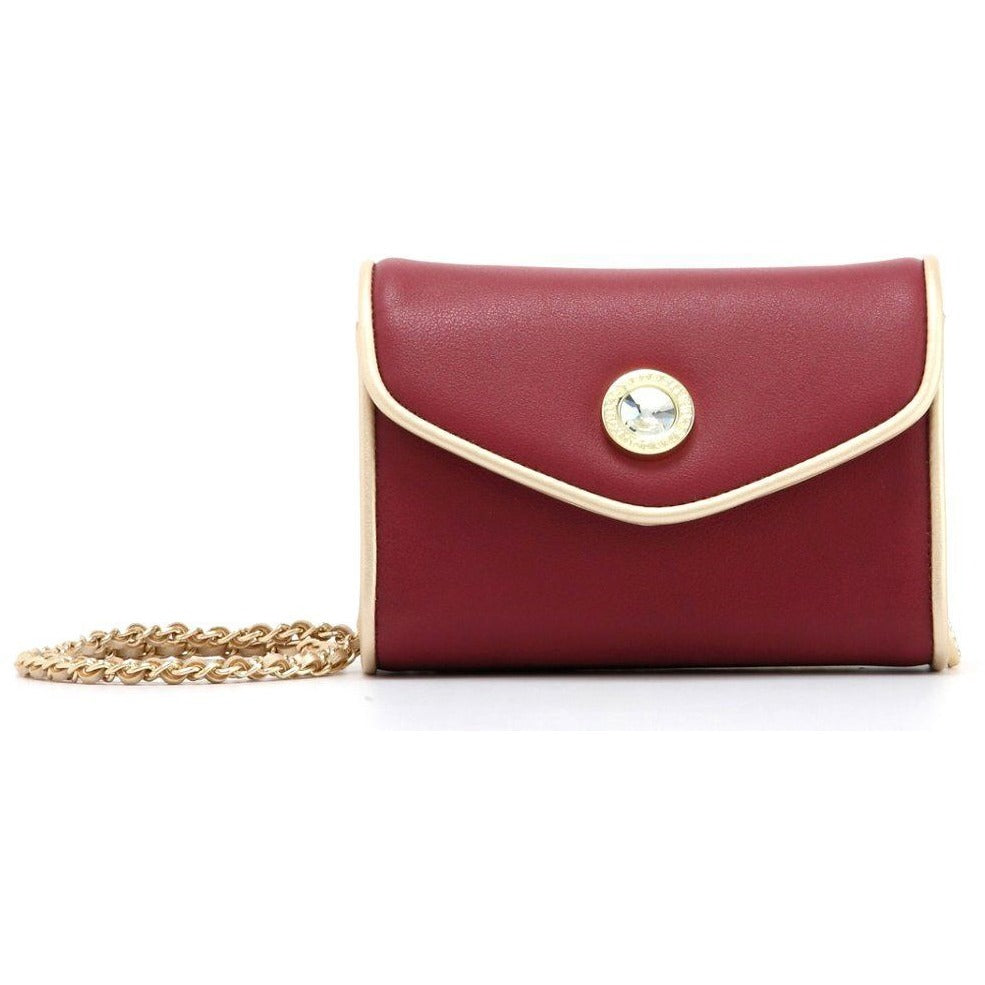 SCORE! Eva Classic Designer Stadium Approved Small Clutch Detachable Chain Crossbody Game Day Bag Event Team Sorority Purse - Maroon and Gold