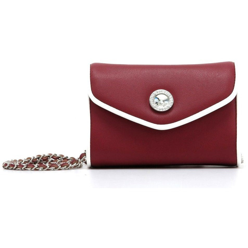 Eva Classic Clutch - Maroon and White