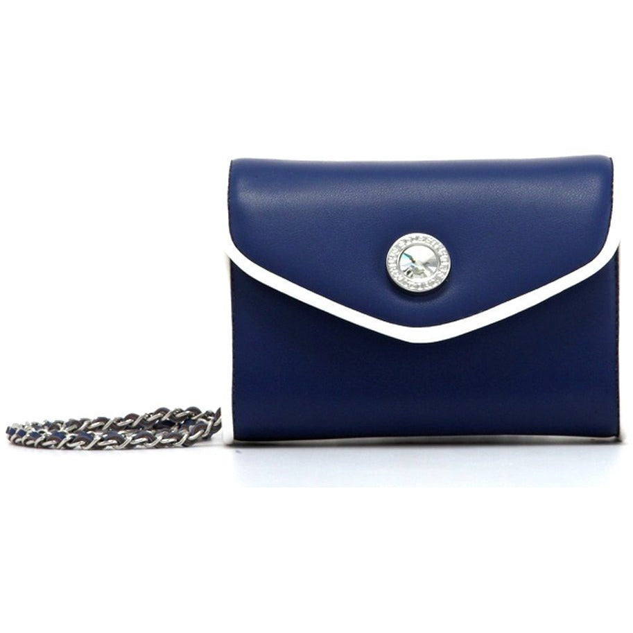 SCORE! Eva Classic Designer Stadium Approved Small Clutch Detachable Chain Crossbody Game Day Bag Event Team Sorority Purse - Navy Blue and White