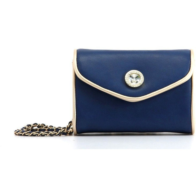 Eva Classic Clutch - Navy Blue and Metallic Gold