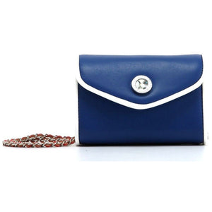 SCORE! Eva Classic Designer Stadium Approved Small Clutch Detachable Chain Crossbody Game Day Bag Event Team Sorority Purse - Navy Blue, White and Red