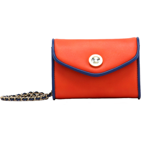 SCORE! Eva Classic Designer Stadium Approved Small Clutch Detachable Chain Crossbody Game Day Bag Event Team Sorority Purse - Orange and Blue