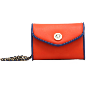 Eva Classic Clutch - Orange and Navy Blue