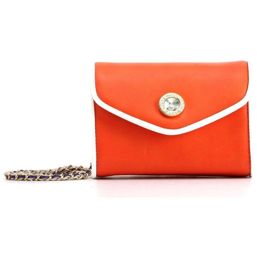 Eva Classic Clutch - Bright Orange and White