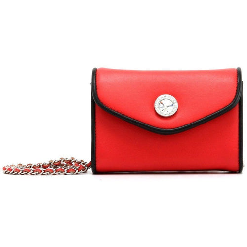 SCORE! Eva Classic Designer Stadium Approved Small Clutch Detachable Chain Crossbody Game Day Bag Event Team Sorority Purse - Red and Black