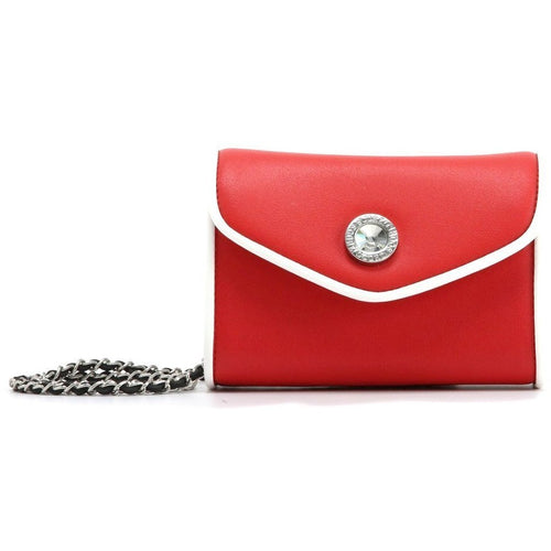 SCORE! Eva Classic Designer Stadium Approved Small Clutch Detachable Chain Crossbody Game Day Bag Event Team Sorority Purse - Red and White