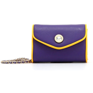 SCORE! Eva Classic Designer Stadium Approved Small Clutch Detachable Chain Crossbody Game Day Bag Event Team Sorority Purse - Purple and Gold Yellow