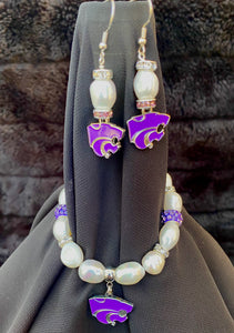 Kansas State Wildcats Logo Pearl and Rhinestone Earrings and bracelet set