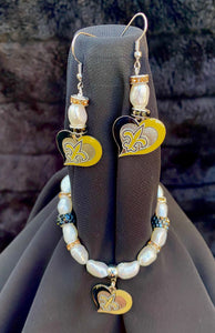 New Orleans Saints NFL Heart  Logo Pearl & Rhinestone Earrings and bracelet set