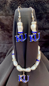 Kansas KU Jayhawks Logo Pearl Earrings and bracelet set