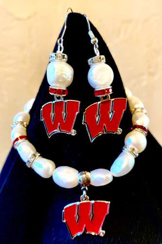 Wisconsin Logo W pearl and rhinestone earrings and bracelet set