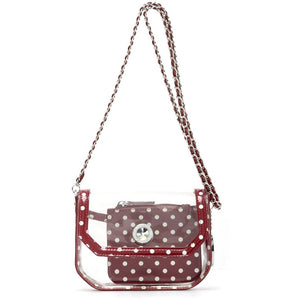 Chrissy Small Clear Crossbody Stadium Compliant Game Day Bag - Maroon and White