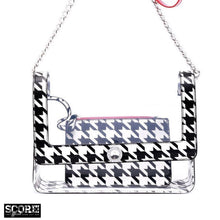 Chrissy Medium Clear Game Day Handbag - Black and White Houndstooth and Red