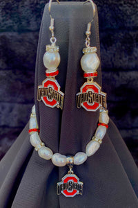 Ohio State Logo Pearl Earrings and bracelet set
