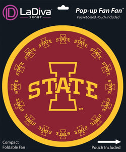 Pop-Up Fan Fan with Pouch-Iowa State University