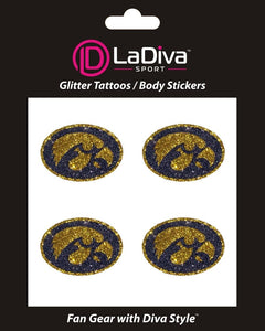 University of Iowa UI Hawkeyes Black and Gold Glitter~Body, Face and Purse Sticker Tattoos