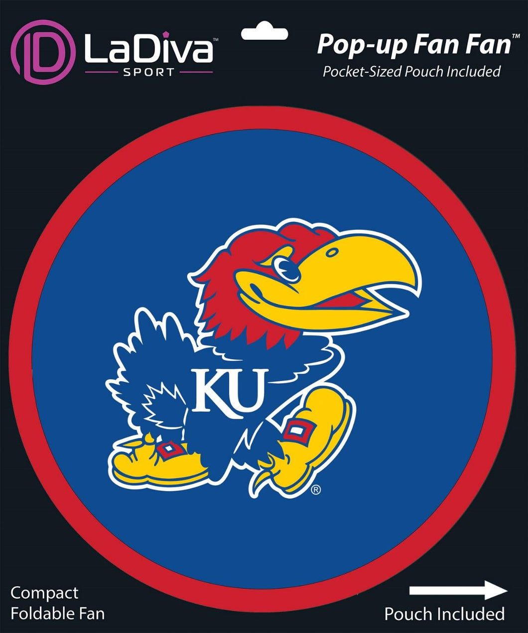 University of Kansas - KU Jayhawks~Pop-Up Fan Fan with Pouch