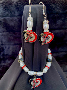 Texas Tech Red Raiders Heart Logo Pearl & Rhinestone Earrings and bracelet set