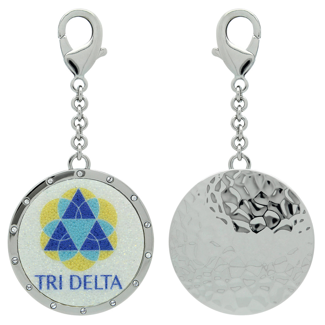 TriDelta Delta Delta Delta Swarovski Crystal Sorority Greek Dangle Charm~ Royal Blue, Light Blue & Yellow Gold