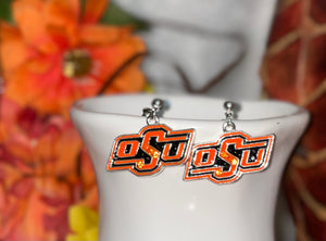 OSU Oklahoma State University Rhinestone Enamel Logo Earrings