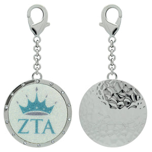 Zeta Tau Alpha ZTA Swarovski Crystal Sorority Greek Dangle Charm~Turquoise & Silver