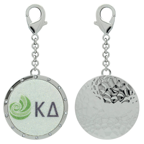 Kappa Delta KD Swarovski Crystal Sorority Greek Dangle Charm~ Olive Green and White