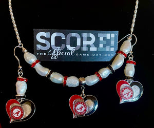 Alabama heart pearl and rhinestone logo necklace and earring set