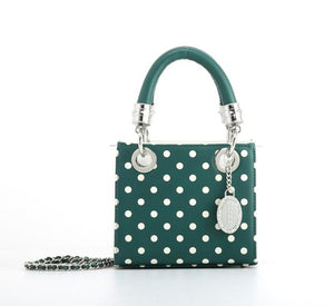 SCORE! Jacqui Classic Designer Stadium Approved Top Handle Satchel Polka Dot Detachable Chain Crossbody Square Game Day Bag Event Team Sorority Purse - Green and White