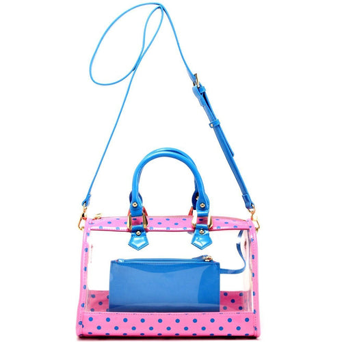 SCORE! Moniqua Large Designer Clear Crossbody Satchel - Pink and French Blue