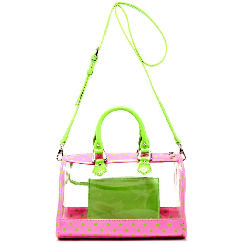 Moniqua Clear Satchel - Pink and Lime Green