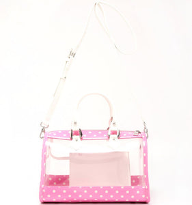 Moniqua Clear Satchel - Pink and White