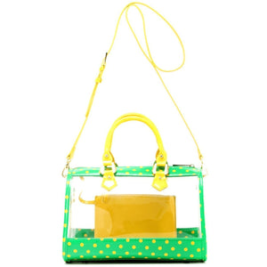 Moniqua Clear Satchel - Fern Green and  Yellow Gold