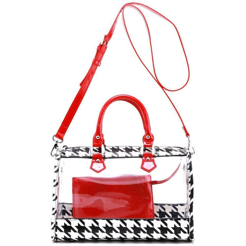 SCORE! Moniqua Large Designer Clear Crossbody Satchel - Houndstooth and Racing Red