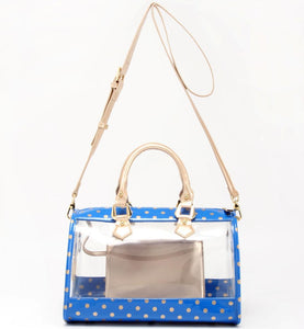 SCORE! Moniqua Large Designer Clear Crossbody Satchel - Imperial Blue and Metallic Gold