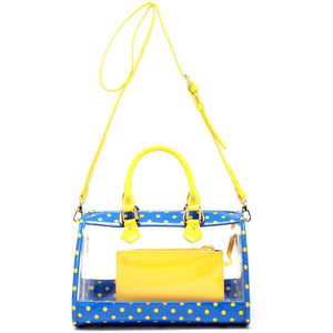 Moniqua Clear Satchel - Imperial Royal Blue and Yellow Gold