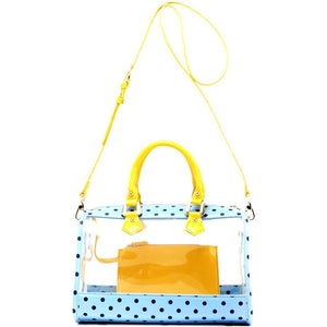 SCORE! Moniqua Large Designer Clear Crossbody Satchel -Light Blue, Navy Blue and  Yellow Gold
