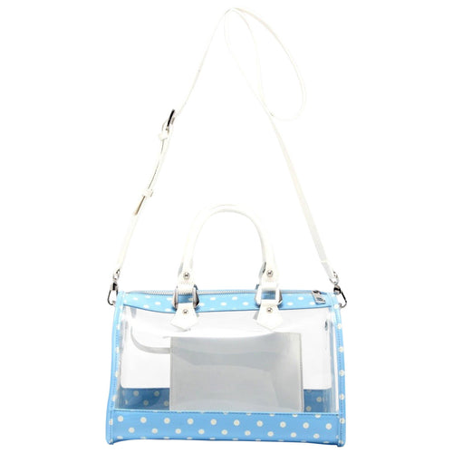 SCORE! Moniqua Large Designer Clear Crossbody Satchel - Light Blue and White