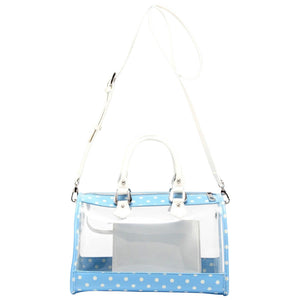 Moniqua Clear Satchel - Light Blue and White