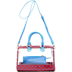 Moniqua Clear Satchel - Maroon and French Blue