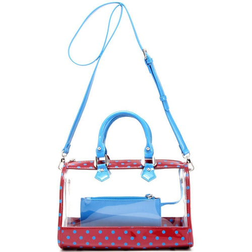 SCORE! Moniqua Large Designer Clear Crossbody Satchel - Maroon and Blue