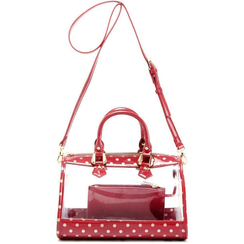 Moniqua Clear Satchel - Maroon and Metallic Gold