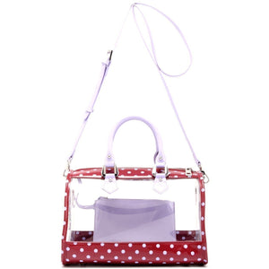 SCORE! Moniqua Large Designer Clear Crossbody Satchel -Maroon and Lavender