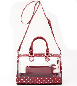 Moniqua Clear Satchel - Maroon and Silver