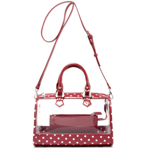 SCORE! Moniqua Large Designer Clear Crossbody Satchel - Maroon and Silver