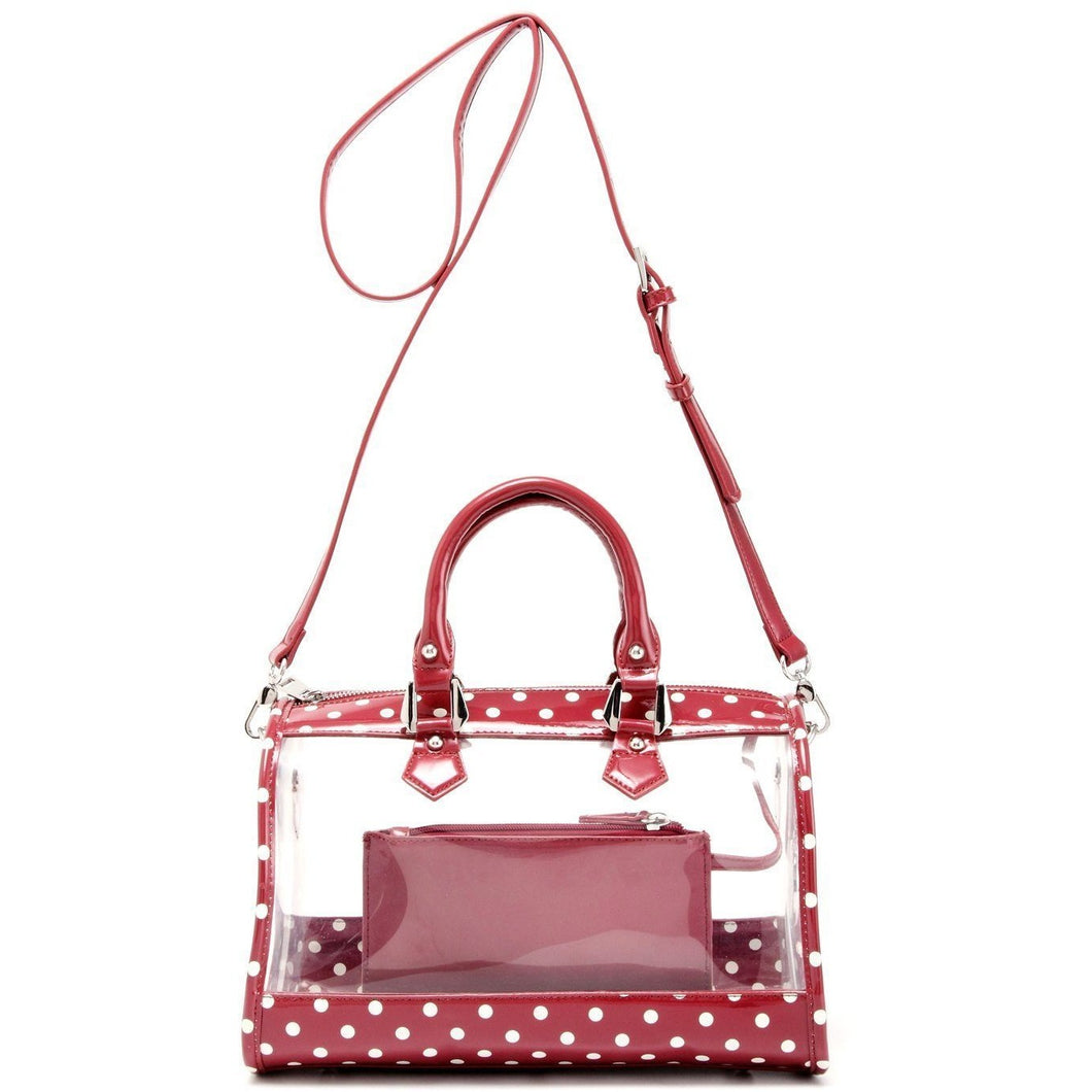 Moniqua Clear Satchel - Maroon and White