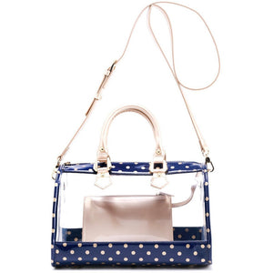 SCORE! Moniqua Large Designer Clear Crossbody Satchel - Navy Blue and Metallic Gold