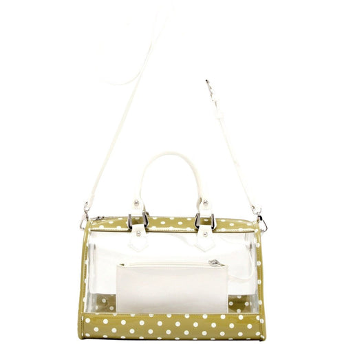 SCORE! Moniqua Large Designer Clear Crossbody Satchel - Olive Green and White