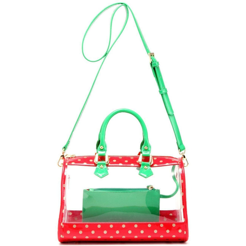 Moniqua Clear Satchel - Racing Red, Metallic Gold and Fern Green