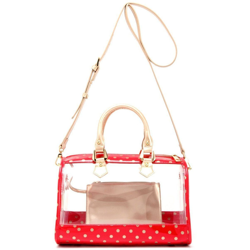 Moniqua Clear Satchel - Racing Red and Metallic Gold